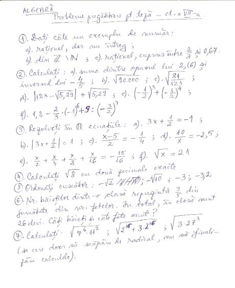 Probleme de algebra pentru clasa a VII-a